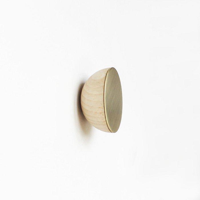Round Beech Wood & Brass Wall Hook /  Knob