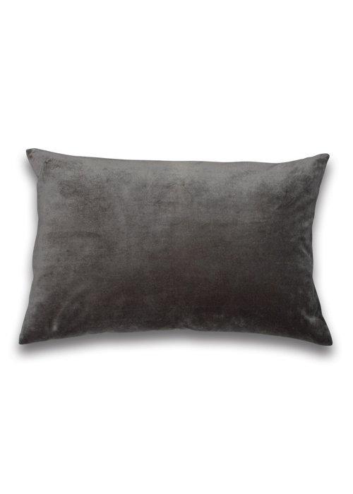 kussen velours dark grey