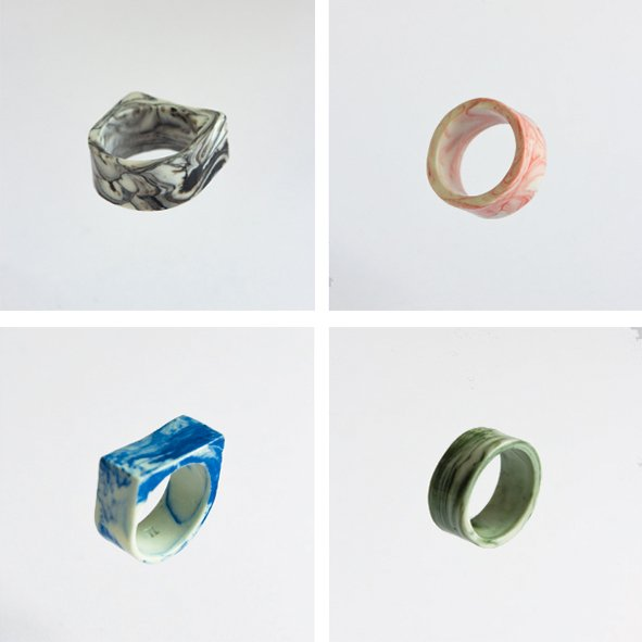 SET mix MARBLE Rings