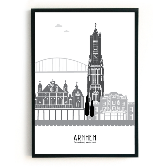 Poster skyline Arnhem zwart-wit-grijs