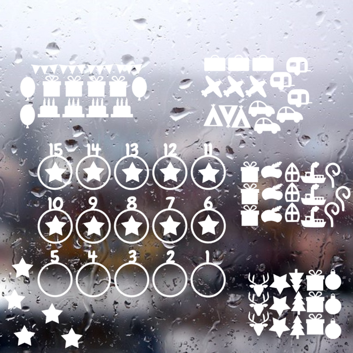 Complete set aftelkalender (met 5 thema's) herbruikbare raamstickers