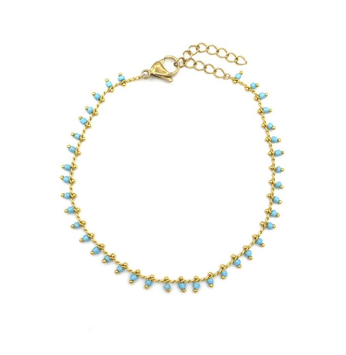 Green dots anklet gold