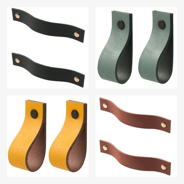 Leather handles - size L (set of 2, including 4 screws) | Leren handgrepen - maat L (set van 2, inclusief 4 schroefjes)