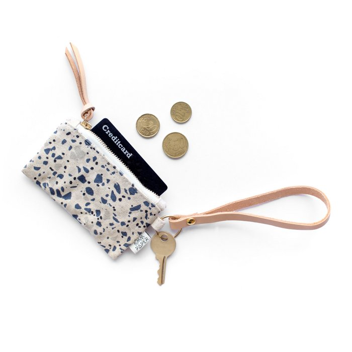 Leather Key Chain with Card/Coin Pouch - Terrazzo Blue Grey II