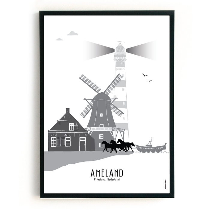 Poster skyline Ameland zwart-wit-grijs