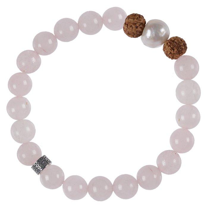 636 Mala Bracelet Pearl 03 Rose Kwarts