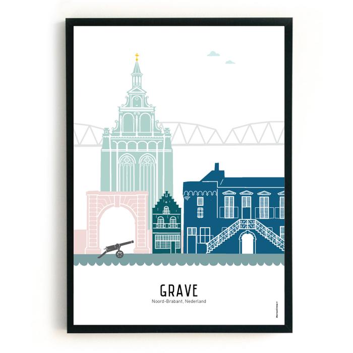 Poster skyline Grave in kleur