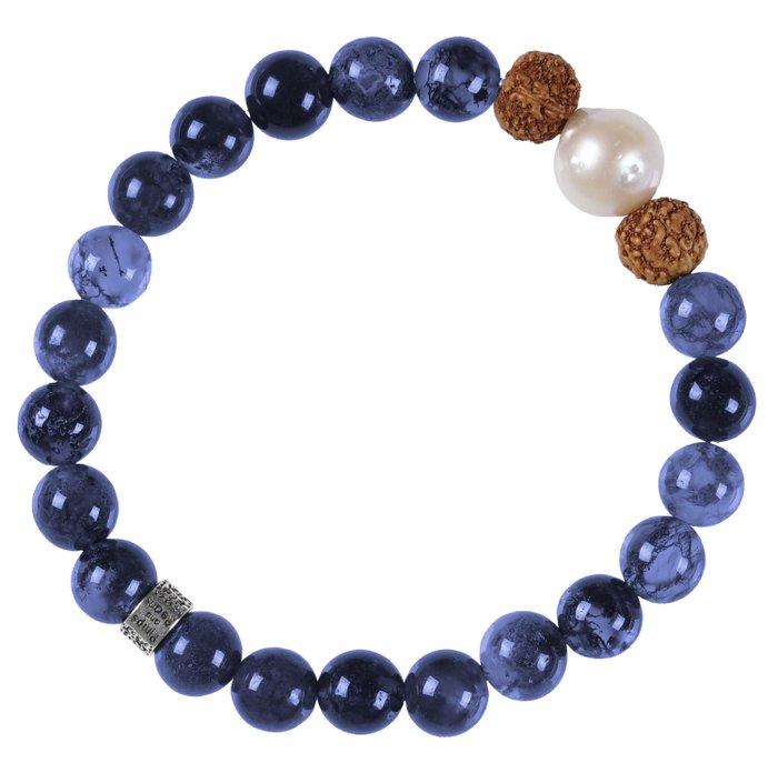 636 Mala Bracelet Pearl 06 Dark Sodalite