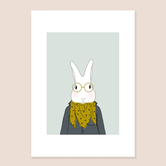 Print Mister Camille Winter - Rabbit with Scarf and Stars Glasses Portrait