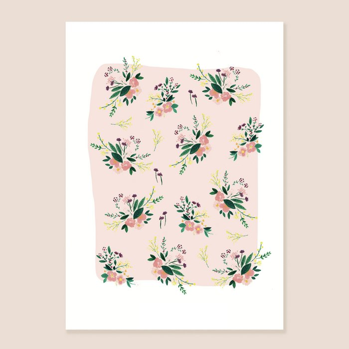 Print Floral Carpet - Pink and Yellow Flowers Bouquet print pink Background