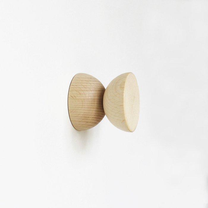 Double Round Beech Wood Wall Hook / Knob