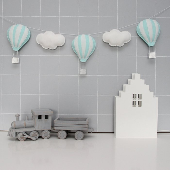 Luchtballonnen slinger Mint Wit