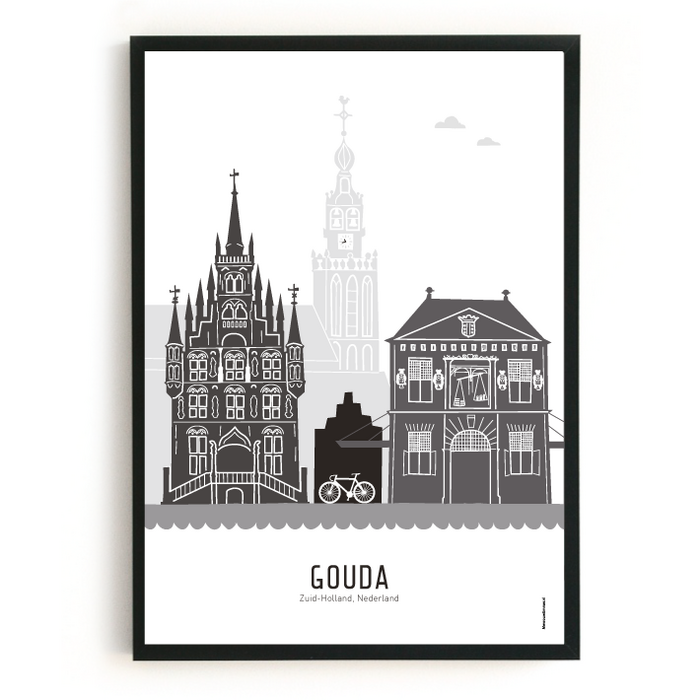 Poster skyline Gouda zwart-wit-grijs