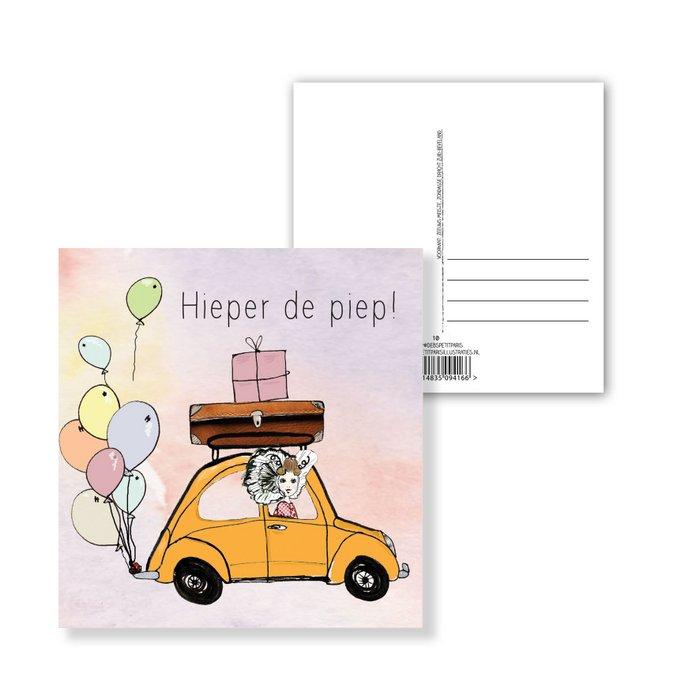 Ansichtkaart Hieperdepiep auto