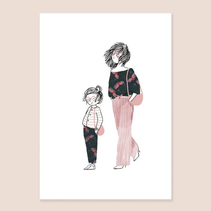 Print You And Me - Mum and her Daughter with Glasses ang Pink Handbag