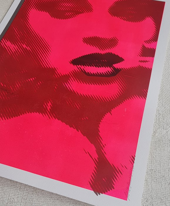 Mixed Media - Biting Lip in Neon #2