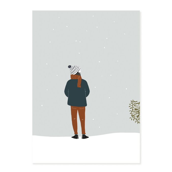 Print Armand - Bearded Man under the snow Striped White Bonnet and Brown Scarf White Peas