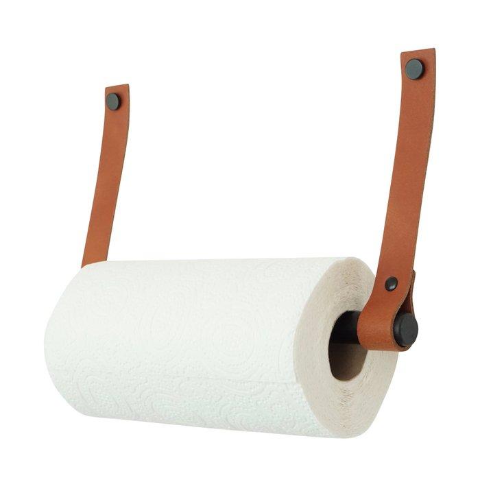 Leather kitchen roll holder (tube: black metal)   Leren keukenrolhouder - (Roldrager: zwart metaal)