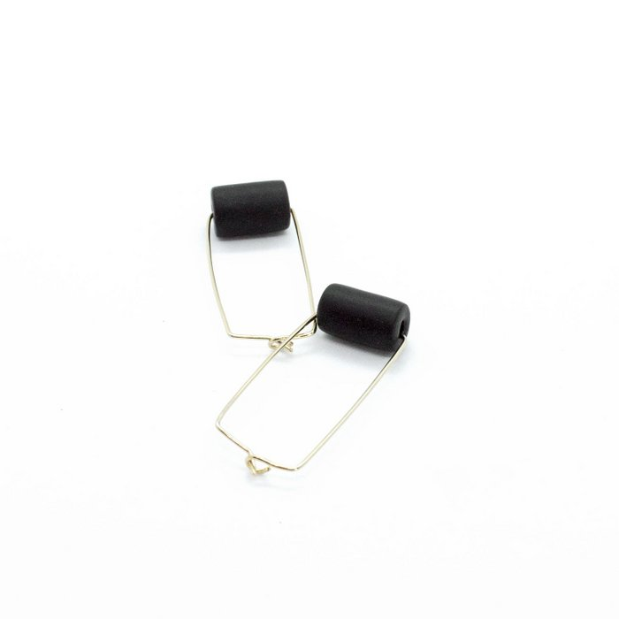 Gold Rectangle Earrings - Black Bead