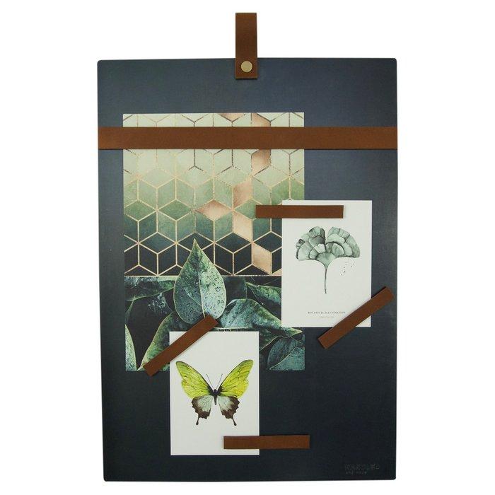 Magnetboard (steel) - including 6 leather magnet strips - Magneetbord (blauwstaal) inclusief 6 leren magneetstrips