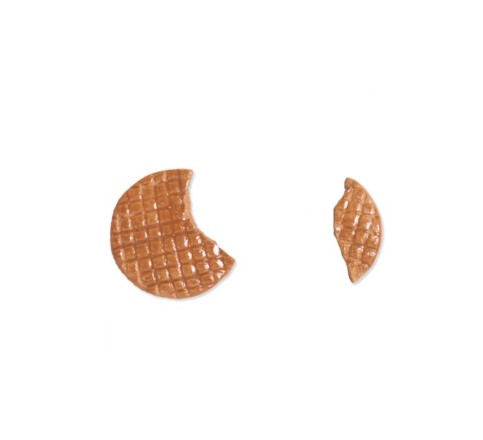 Broken stroopwafel earrings