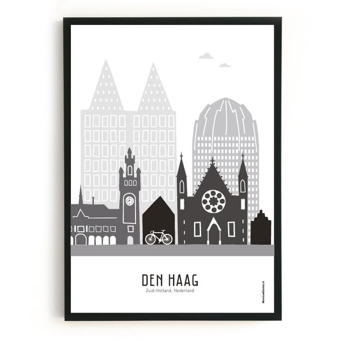 Poster skyline Den Haag zwart-wit-grijs