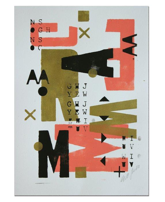 Schilderij - Gold Typography