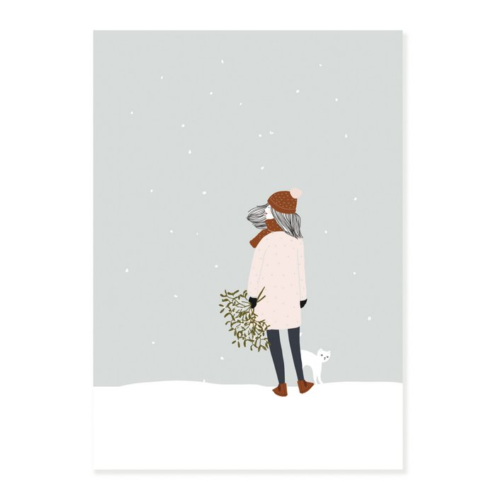 Print Laurette - Woman with a White Cat under the snow with Mistletoe  and Brown Scarf Bouquet and White Peas