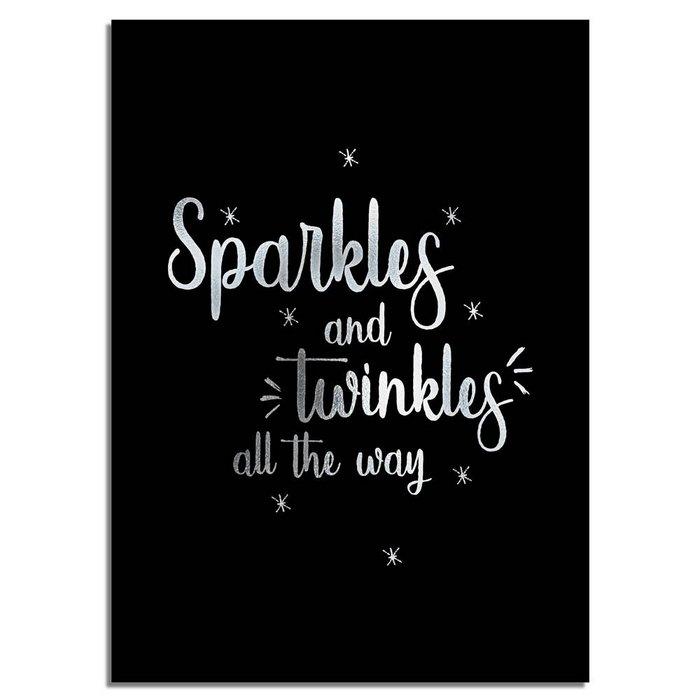 Kerstposter Sparkles and Twinkles all the way - Kerstdecoratie Zilver folie + zwart