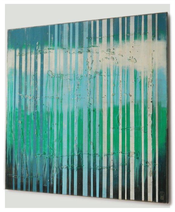 Schilderij - Bright Blue Lines Square