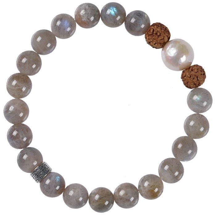 636 Mala Bracelet Pearl 04 Labradorite