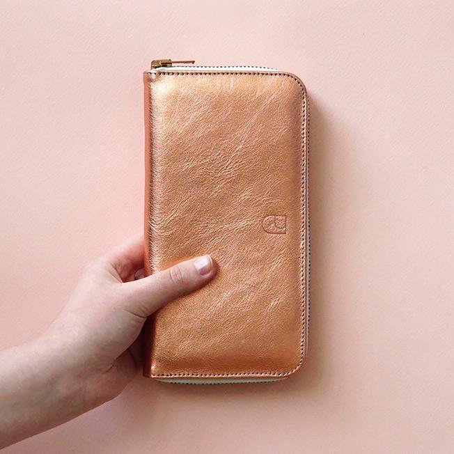 spacious leather wallet copper