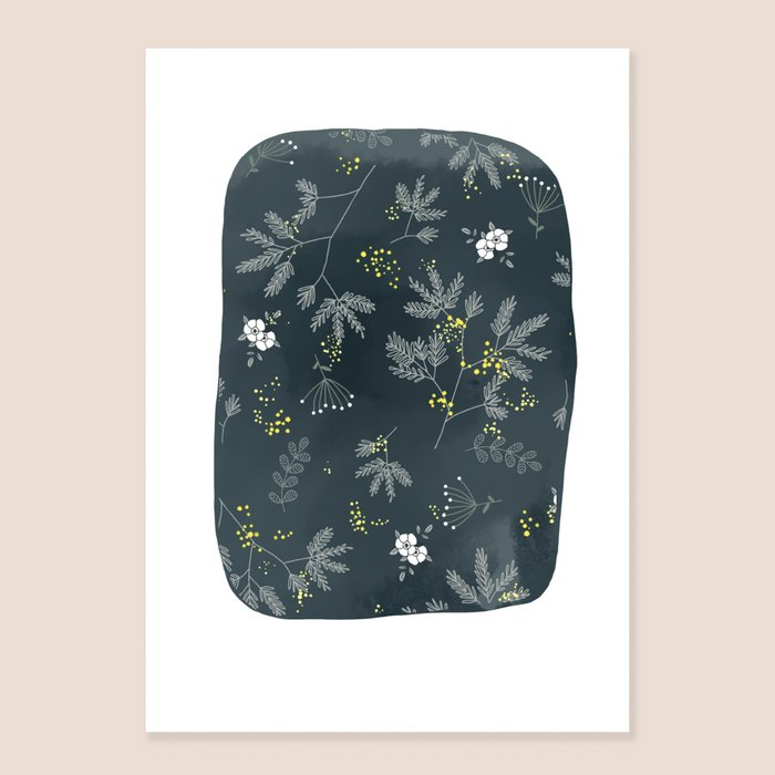 Print Firefly - White Green and Yellow Flowers Print on Dark Blue Background