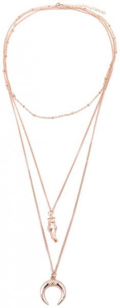 Layered Necklace Tooth and Moon Rose Gold