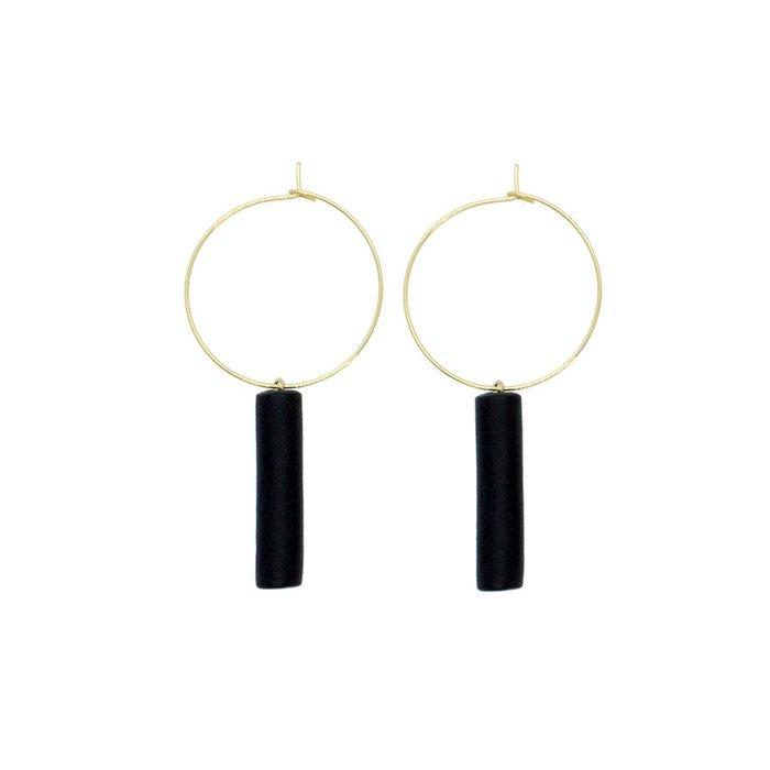 Gold Hoop Earrings - Black Bar Pedant