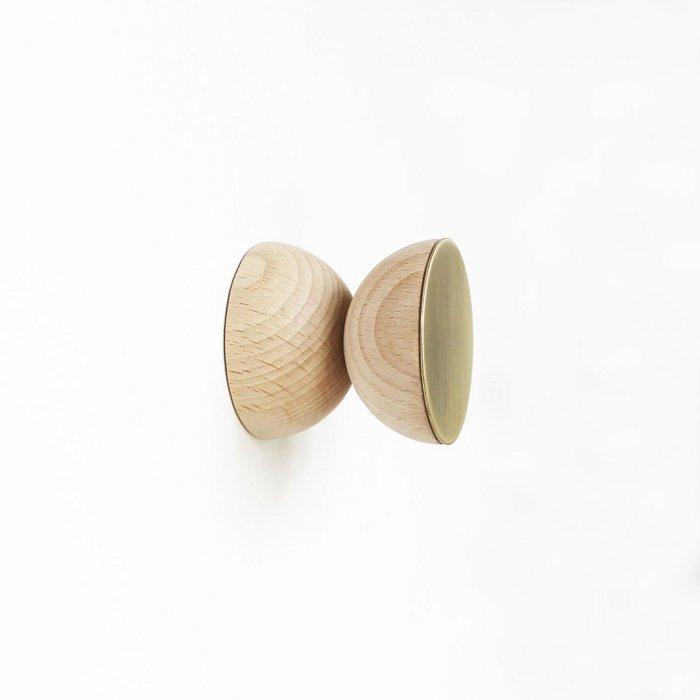 Double Round Beech Wood & Brass Wall Hook / Knob
