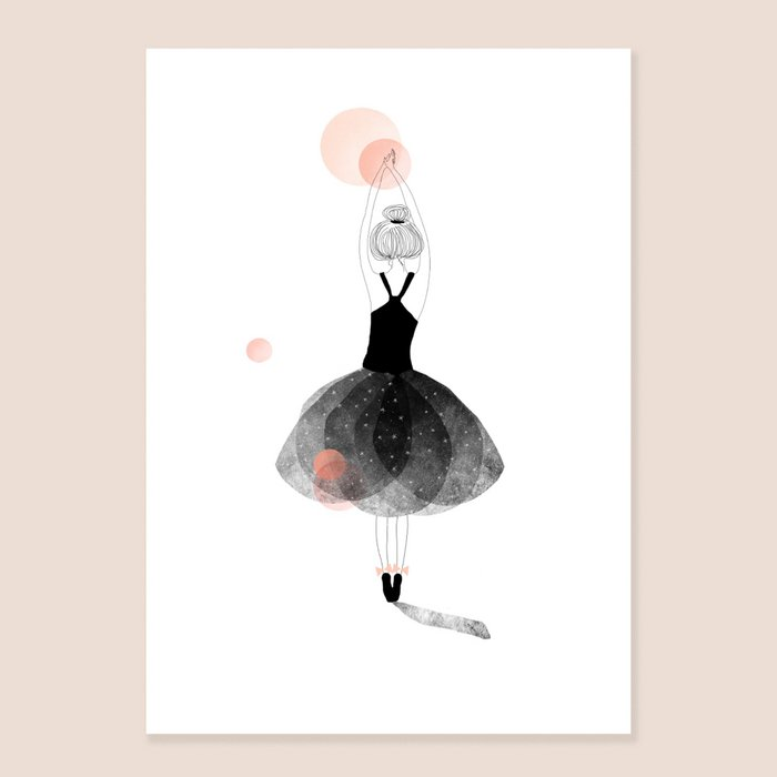 Print Ballerina - Back view Dancer with Black Dress Upraised arms and Bun