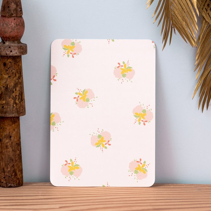 Card Pink Tapestry - Print with Pink Yellow and Green Flowers