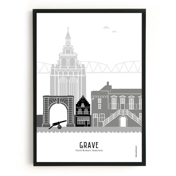 Poster skyline Grave zwart-wit-grijs