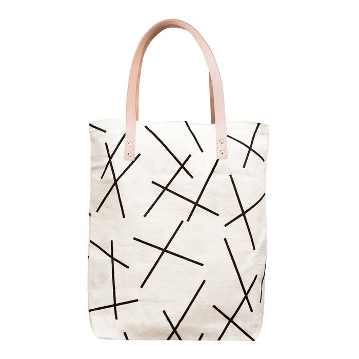 Cotton Canvas Tote Bag with Leather Straps - Black Mikado Lines Pattern