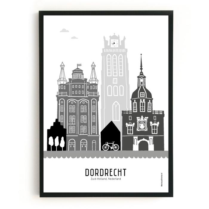 Poster skyline Dordrecht zwart-wit-grijs