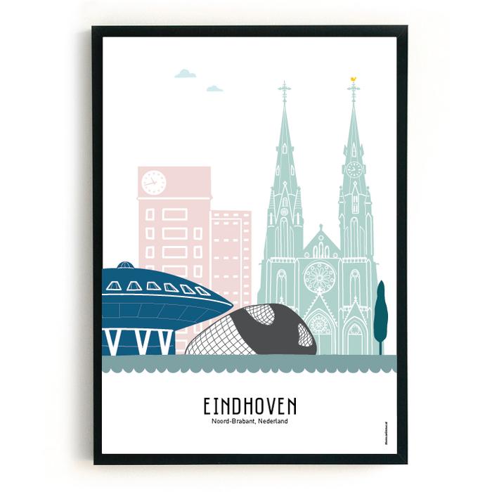 Poster skyline Eindhoven in kleur