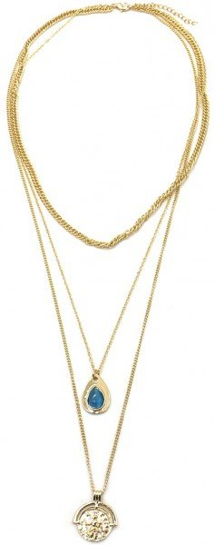 Layered Necklace Chain and Coin Gold