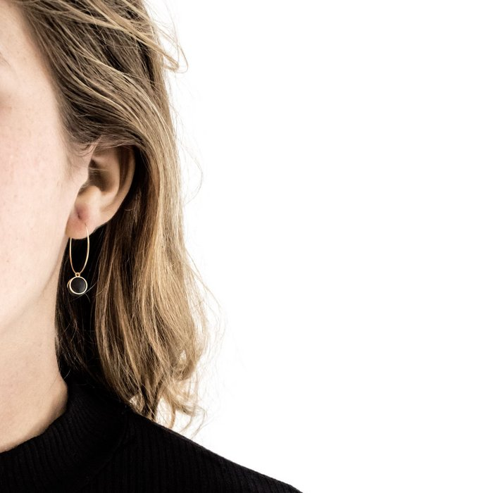 Gold Hoop Earrings - Black Ball Charm Pendant