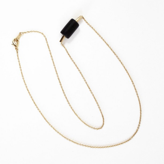 Gold Necklace - Gold Tube & Black Bead