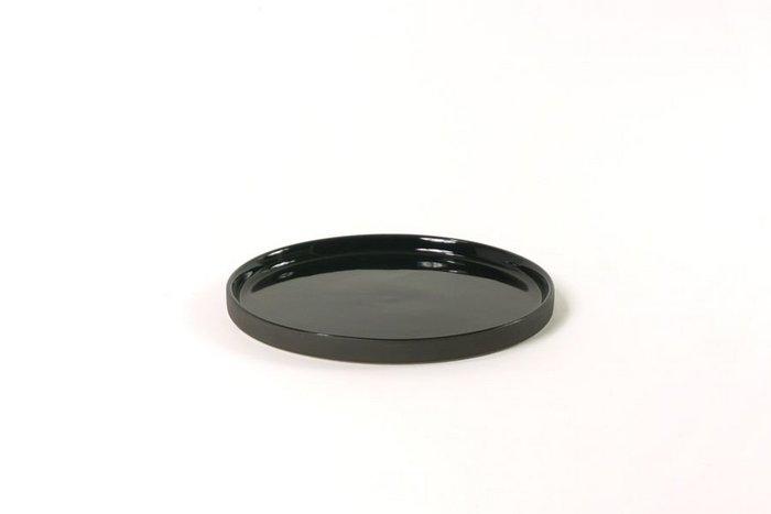 bord cer rond 17.5x1cm glans. buitenkant mat zwart