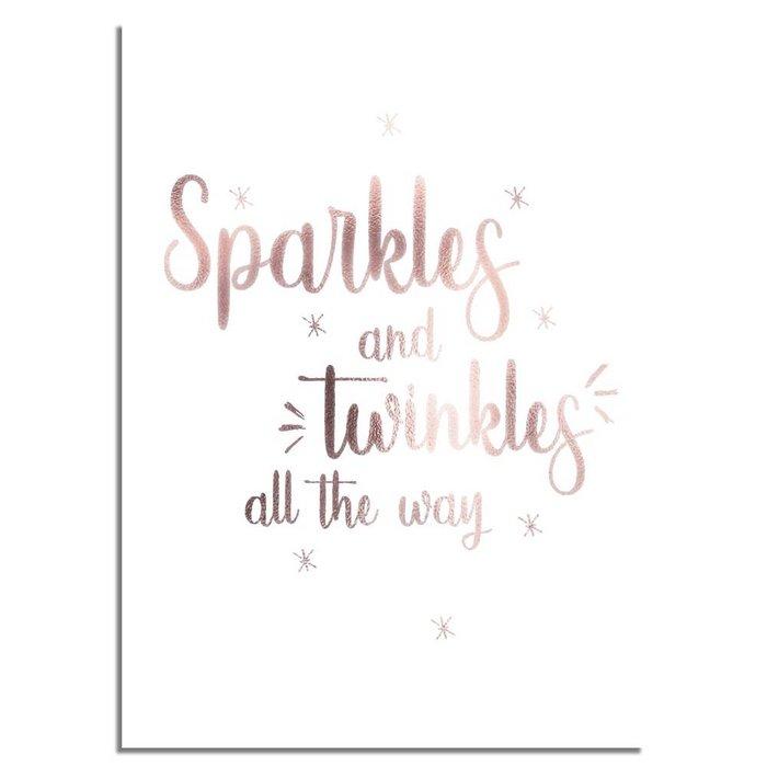 Kerstposter Sparkles and Twinkles all the way - Kerstdecoratie Koper folie + wit