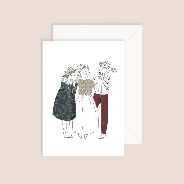 Card Friends - Fine Lines Three Girls White Dark Grey Dress and Bordeaux Pants