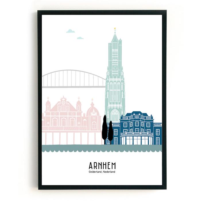 Poster skyline Arnhem in kleur