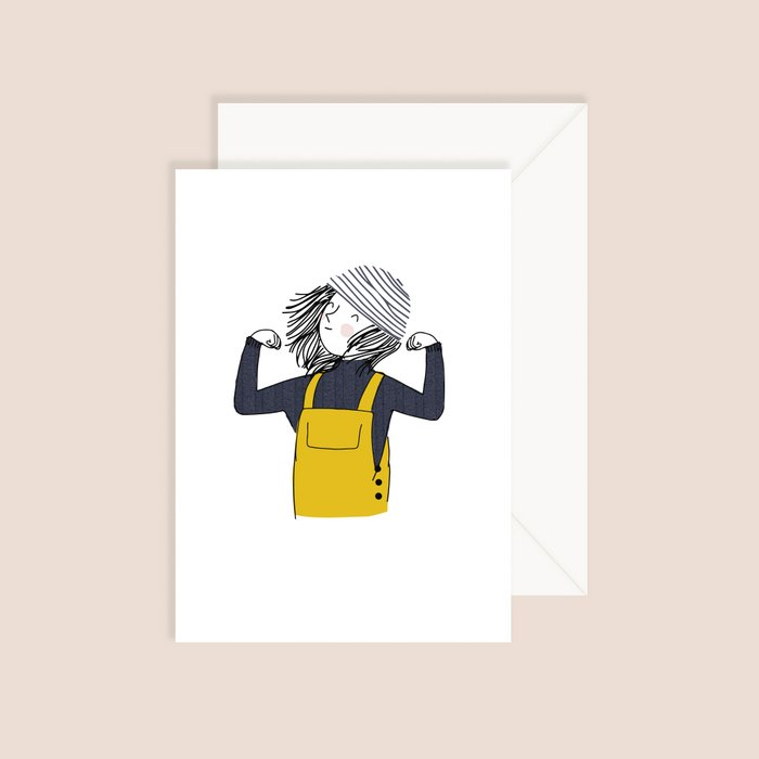 Card Sailor - Girl with Yellow Raincoat and Striped White Bonnet Blue Pullover